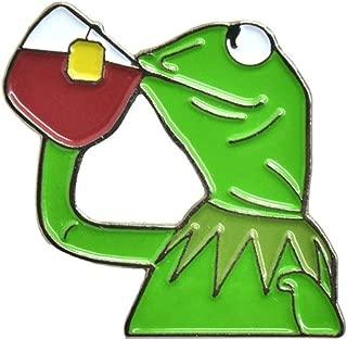 Kermit Sipping Tea Enamel Pin Kermit None of My Business Enamel Pin By ASVP Shop