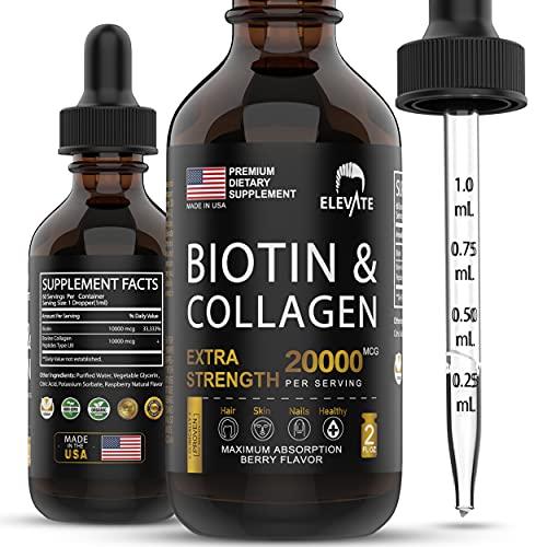 ELEVATE Biotin & Collagen Hair Growth Drops 20000mcg - Liquid Biotin 10000mcg & Collagen 10000mcg Natural Supplement for Best Absorption to Support Healthy Skin & Strong Nails - USA Made - Men & Women