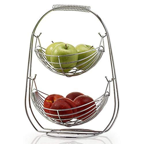 GU YONG TAO Support de paniers de Fruits à 2 Niveaux - Panier de Rangement Debout en métal pour Fruits et légumes, présentoir de Service pour collations, Articles ménagers