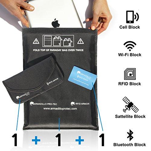 FARADAY RFID - Protege Tableta, Teléfono Móvil, llavero de Coche de Hacking, Rastreo, Spying, EMF y EMP. 1 Bolsa Tableta - 1 Bolsa de Teléfono - 1 Tarjeta de Bloqueo