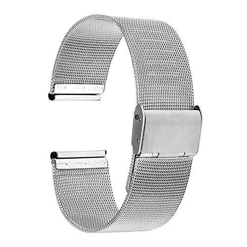 TRUMiRR 18mm Uhrenarmband Mesh Edelstahl Metallarmband kompatibel für Huawei Uhr 1/Ehre,Asus Zenwatch 2 Damen 1.45 '' WI502Q,Withings Activite/Stahl HR 36mm, Fossil Q Tailor