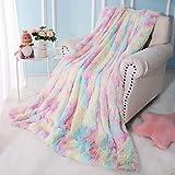 Keeko Soft Fluffy Rainbow Throw Blanket, Decor Throw Blanket for Couch Sofa Bed, Cute Fuzzy Blanket for Girls Kids, Unique Tie Dye Rainbow Blanket 50x60 Inch