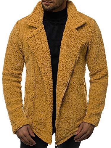 OZONEE Herren Übergangsjacke Jacke Mantel Plüschjacke Teddy-Fleece Fleecejacke Fleecepullover Fleecemantel MACH/3118 Camel L