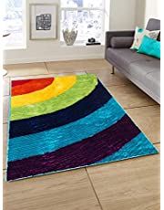 Story at home modern anti skid polyester floral thick soft shaggy area rug long lasting carpet for bedroom, living room, hall - 3 x 5 ft, multicolor