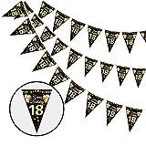 Dekewe 18 Cumpleaños Pancarta Triángulo Oro Negro,18 Cumpleaños Banderines,18 Años Oro Negro Guirnalda Banderas,Guirnalda de 18 Cumpleaños Para Decoración de Fiesta de Cumpleaños de Niños y Niñas