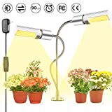 LED Grow Light for Indoor Plants, KeShi 45W 90 LEDs Sunlike Full Spectrum Grow Lamp, Auto On/Off, 2 Heads Grow Light Bulbs 5 Dimmable Levels 3H/9H/12H Timer, 360 Degree Gooseneck with 3 Switch Modes