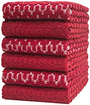 """Premium Kitchen Towels  16""""x 28"""" 6 Pack  3 pcs Yarn Dyed + 3 Solid –Weave Design – 380 GSM Highly Absorbent Tea Towels Set with Hanging Loop  Red Kitchen Towels"""