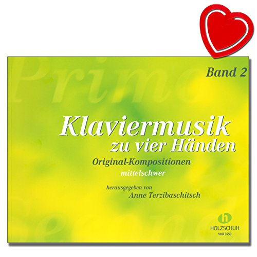 Piano muziek voor vier handen - Band 2 - composities van Georges Bizet, Alfredo Casella, Elisabeth Haas, Tichon Chrennikow - piano noten met kleurrijke hartvormige muziekklem