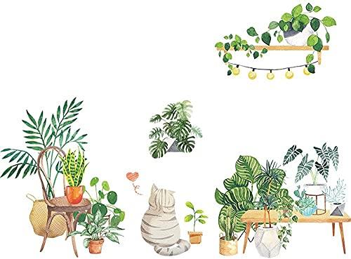 Pintura decorativa, pegatina de pared, vida relajante, planta verde, gato, calcomanía de pared, adhesivo, decoración de la pared de la habitación del hogar Rural, 90 * 30 cm