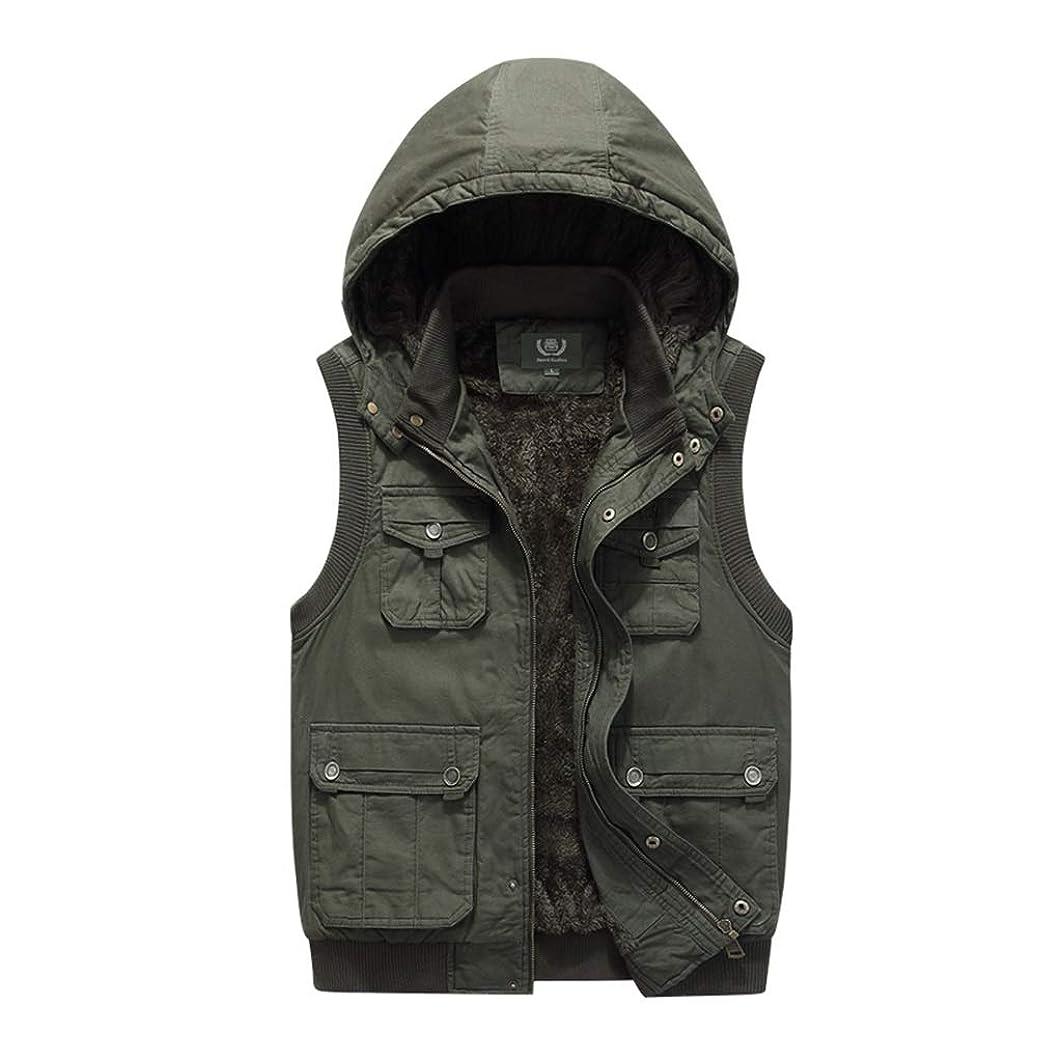 盲目男らしさ普通のLGQ-HW メンズプラスベルベットパッド入りジレ、春と秋の冬暖かいジッパー取り外し可能な帽子のベスト (Color : Green, Size : XXXXL)
