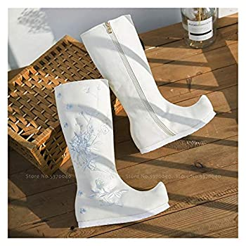 Chinese Traditional Women Hanfu Dance Performance Princess Shoes Tang Dynasty Ancient Embroidery Long Tube Zipper Plush Boots  Color   White add Fur Shoes Size   37