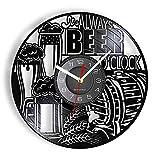 LIMN Reloj de Vinilo It's Always Beer O'Clock Reloj de Pared de Vinilo LP con Registro de Trigo Hecho con Cerveza Taza de Espuma Diseño Vintage Relojes iluminados Disco Artesanías