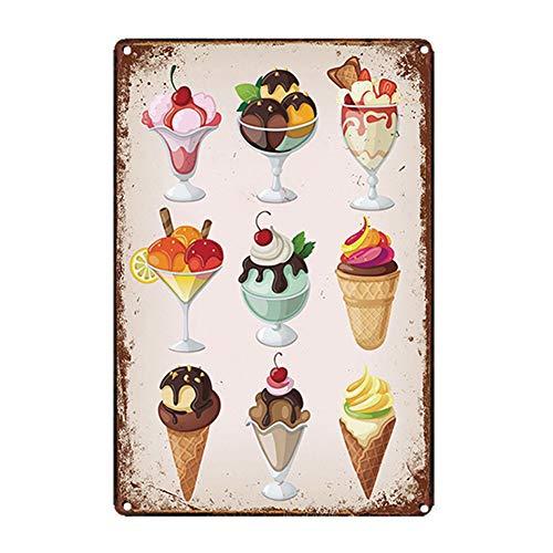 Material: metal (chapa de hierro). Shifu hizo deliberadamente rasguños y manchas en el artículo, o imprimió el efecto oxidado, para hacer un estilo vintage, no realmente oxidado. Este póster de helado, cada uno de un lado, es ideal como decoración de...