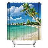 GraceFINE Duschvorhang 3D Polyesterfaser Stoff Wasserdicht Bad Gardinen Antibakterielle Badezimmer Gardine mit Haken 180*180cm, Beach