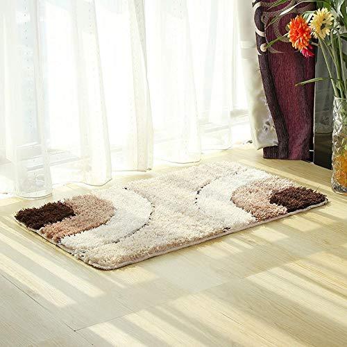 FRGTHYJ Rechthoekige vloermat voor huishoudelijk gebruik, microfiber Europees getuft tapijt, absorberende antislipmat voor de badkamer, deurmat, CL008 halve cirkel-koffie, 45x65cm