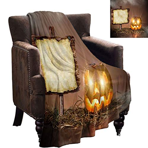 LanQiao Dog Blanket - Halloween Scary Pumpkin on Wooden Table - Microfiber All Season Blanket 70'x60'