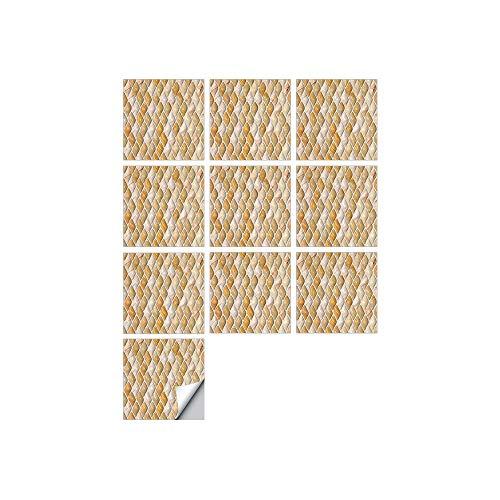 Byrhgood 10 PCS SIMULACIÓN 3D Auto Adhesivo Vinilo Papel Pantalón Peel and Stick Decorativo Calcomanías Impermeable Baño Mosaico Mosaico Pegatina (Color : FDJ013, Size : 20cmX20cmX10pcs)