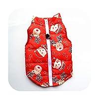 小型犬用の暖かい犬の服防風冬のペットの犬のコートジャケットパッド入りの服子犬の衣装ベストヨーキーチワワ服35 -Christmas RED-XL