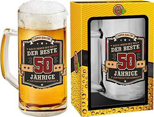 Abc Casa Bierkrug 0,5l mit Aufschrift zum 50. Geburtstag für alle Biertrinker – Aufschrift Der Beste 50 Jährige – originell verwendbares Geschenk für 50-Jährige im Geschenkbox