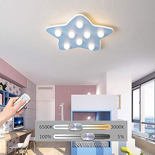 Hil plafondlamp, ster, met vijf, leds, plafondlamp, inbouwlamp, lamp van smeedijzer met acryl, voor kleuterschool Blauw