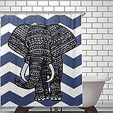 ArthuereBack Elefant Duschvorhang Aztec Pattern Print Weiß Blau Duschvorhänge Wasserdicht