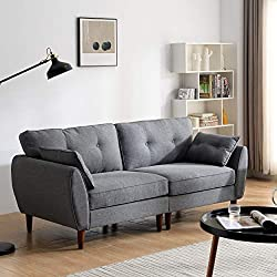 Our stylish Brooks sofa comes in 2-seater, and 3-seater that can be combined in sets to suit your room arrangements. Upholstered with soft fabric, the sofa comes with buttoned cushions and sits on tapered solid wood effect legs for a beautiful retro ...