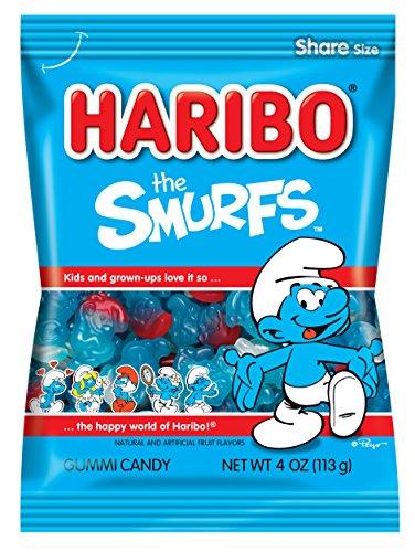 Haribo Gummi Candy, The Smurfs, 4 oz. Bag (Pack of 12)