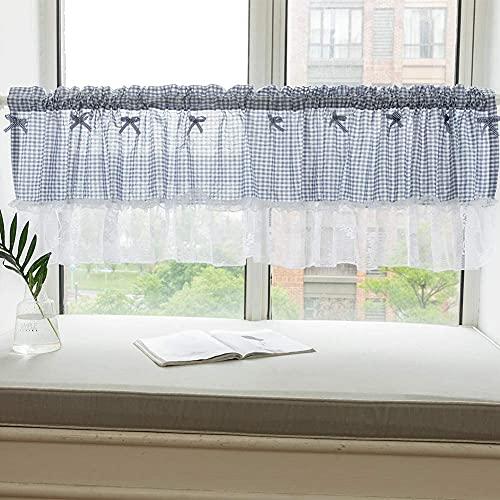 "Buffalo Check Plaid Window Valances Cotton Blend Gingham Design Yarn Dyed Rod Pocket Valance Curtains for Kitchen/Living Room - 18""x52"", Blue"