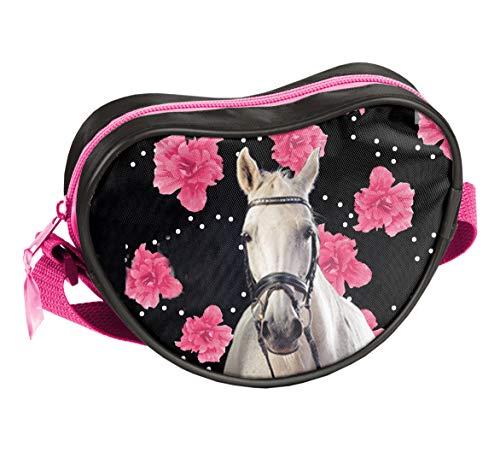 Ragusa-Trade Pferde Fan Mädchen Kinder - Handtasche Schultertasche Umhängetasche (301HR), schwarz/pink, 17 x 15 x 5 cm