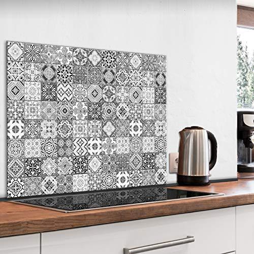 murando Panel de Vidrio para Cocina 80x60 cm Vidriopanel Protector Pantalla Antisalpicaduras Salpicadero con Gráfica Panel Decorativo Motivo Mosaico Azulejos - f-B-0288-aq-e
