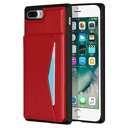 Happy-L Funda para iPhone 7 Plus y iPhone 8 Plus, duradera a prueba de golpes, cuero de primera calidad horizontal, soporte magnético para teléfono iPhone 7/8 Plus (color rojo)