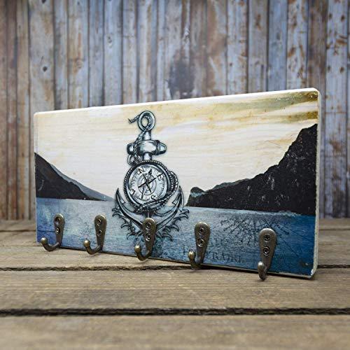 elbPLANKE mit Haken - Lago di Garda (Gardasee) | 12x24 cm | Schlüsselbrett von Fotoart-Hamburg | mit 5 Antike Haken aus Holz (Kiefer/Fichte) - 100% Handmade