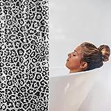 Rubustic® Duschvorhang 180x200 inkl. 12 Befestigungsringen | aus 100prozent PEVA | antischimmel und geruchsneutral | perfekter Bad Vorhang für Dusche und Badewanne | Motiv: Leoprint