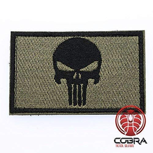 Cobra Tactical Solutions Punisher Tête de Mort Skull Parche Ecusson Brodé Patch Tactique Moral Militaire Applique Emblème Insignes Fastener à Crochet et Boucle Airsoft Paintball Cosplay (Verde/Negro)