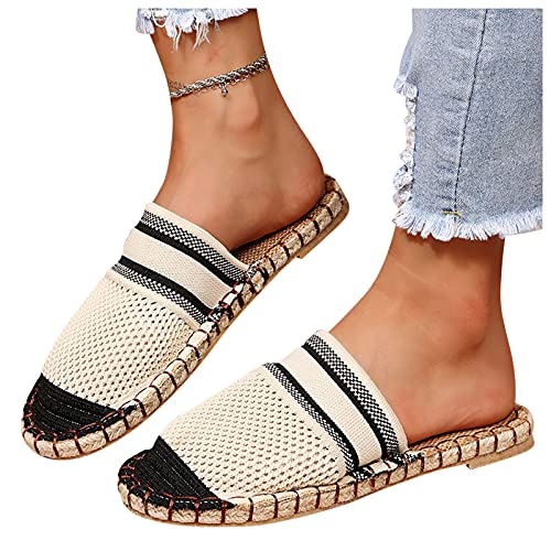 Women'S Sport Running Shoes Fashionable Breathable Mesh Toe Cap Half-Drag Striped Flat Casual Shoes Running Shoes