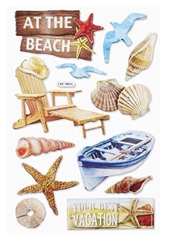 3 D-Sticker Beach I, Bogen 18,5 x 12,5cm
