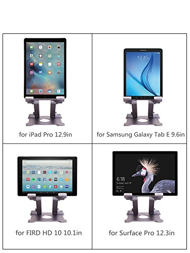 Tablet Stand,KABCON Adjustable Aluminum Tablets(7-13.5 inch) Holder for iPad 2017/2018,iPad Pro,Surfa   ce Pro Surface Pro 3 4,FIRD HD 10,Samsung Galaxy Tab E,ASUS Transformer with a Carry Bag-Space Grey