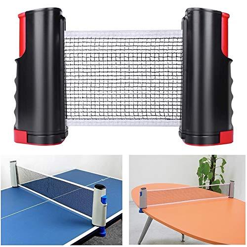Kilcvt Retractable Ping Pong Net, Retractable Tischtennisnetze Ersatz Adjustable, Perfekt für Tischtennis, für alle Tischtennis-Platten,Schwarz