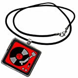 3dRose Florene Fifties - Retro Red and Black Record Player - Necklace with Rectangle Pendant (ncl_38103_1)