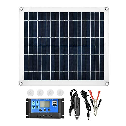 Solar Panel,25W Flexible Polycrystalline Solar Panel Controller Battery Charger High Efficiency with Power-Off Memory Function and 3-Stage PWM Charge Management