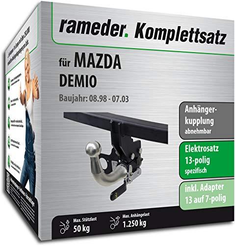 Rameder Komplettsatz, Anhängerkupplung abnehmbar + 13pol Elektrik für Mazda DEMIO (153537-03883-1)