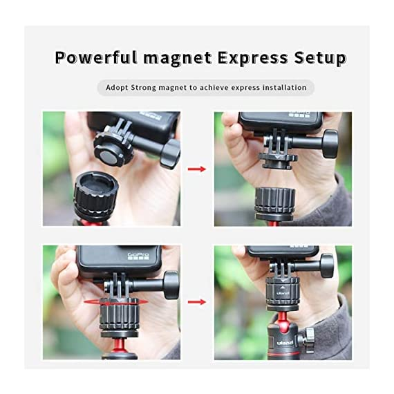 Tripod Mount Adapter for Gopro, ULANZI Quick Release Tripod Base Mount 1/4 Screw + Universal Action Cam Mount Accessory… 6 ULANZI GP-4 Quick Release Tripod Mount Base for Gopro Heo 8 7 6 5 Black/Gopro Max/DJI Osmo Action/insta 360 1/4 Thread Tripod Mount Adapter------Compatible with universal 1/4 screw tripod monopod battery handle grip extension pole stick Universal Action Camera Mount------Compatible with action cam tripod Gopro Shorty