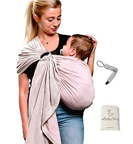 Ring Sling Baby Wrap Carrier- Newborn, Infant, Toddler -Pacifier Clip Carry Bag Gift