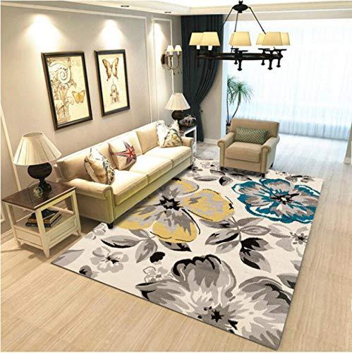 Abstract Ink Flower Printed Carpet Living Room Sofa Area Anti-Slip Carpet Bedroom Balcony Wear-Resistant Polyester Carpet60*90Cm