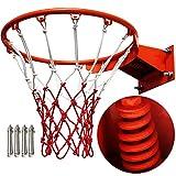 Yajun Aro De Baloncesto Montado En La Pared Deportes Al Aire Libre Juguetes para Adultos Niños Full Solid Metal Spring Gym 45cm Red De Artículos Deportivos
