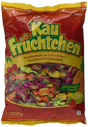 Kau Früchtchen (1 x 1kg Beutel) / Kaubonbons mit fruchtigen Geschmacksrichtungen