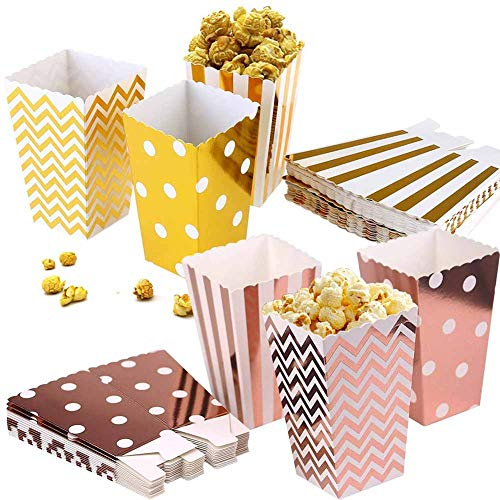 BESLIME Rose Gold Party Bags, Paper Treat Bags Snack Bag Durable Wedding Sweet Candy Container Paper Bags for Cookie Bakery Candy Cup Cake 5 x 7in (Rose Gold)