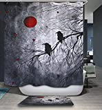 Raven Crow Halloween Shower Curtain, Gothic Blood Red Moon Black Tree White Nightlight Crow Birds on Trees Horror Bathroom Decor