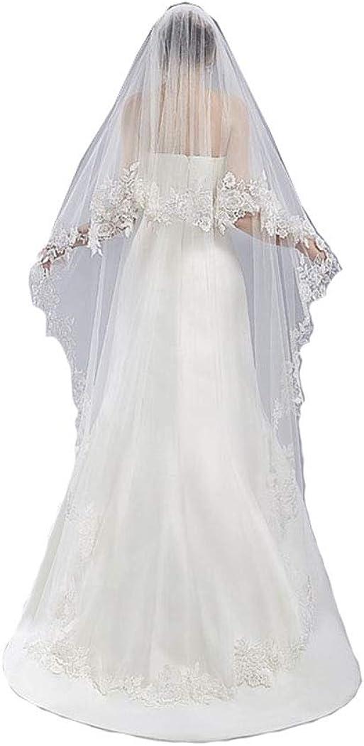 Michealboy Wedding Veil 180cm 2 Tier White Veil with Comb