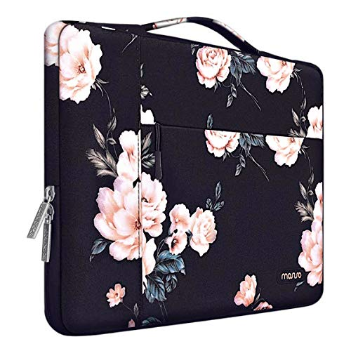 MOSISO Laptop Sleeve Case Compatible with MacBook Pro 16 inch, 15 15.4 15.6 inch Dell Lenovo HP Asus Acer Samsung Sony Chromebook, Polyester Camellia Multifunctional Briefcase Bag